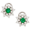 Estate Jewelry:Earrings, Diamond, Emerald, White Gold Earrings. ...