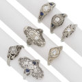 Estate Jewelry:Rings, Art Deco Diamond, Synthetic Sapphire, White Gold Rings . ... (Total: 7 Items)