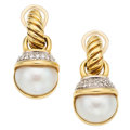 Estate Jewelry:Earrings, Diamond, Mabe Pearl, Gold Earrings, David Yurman. ...