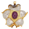 Estate Jewelry:Pendants and Lockets, Ruby, Diamond, Gold Pendant . ...