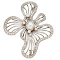 Estate Jewelry:Brooches - Pins, Diamond, Cultured Pearl, White Gold Brooch. ...