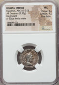 Ancients:Roman Imperial, Ancients: Macrinus (AD 217-218). AR denarius (3.35 gm). NGC MS 5/5- 4/5, Fine Style....