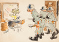 Animation Art:Production Drawing, Victory Through Air Power Gag Drawing by James Bodrero (WaltDisney, 1943)....