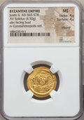 Ancients:Byzantine, Ancients: Justin II (565-578). AV solidus (4.50 gm). NGC MS 4/5 -4/5, clipped....