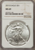 Modern Bullion Coins, 2015 $1 Silver Eagle MS69 NGC. NGC Census: (29839/5663). PCGS Population: (5498/3117). ...