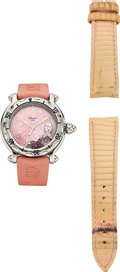 Estate Jewelry:Watches, Chopard Lady's Diamond, Pink Sapphire, Stainless Steel, RubberStrap Happy Sport Watch. ... (Total: 2 Items)