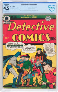 Detective Comics #65 (DC, 1942) CBCS Conserved VG+ 4.5 Cream to off-white pages