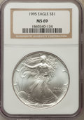 Modern Bullion Coins: , 1995 $1 Silver Eagle MS69 NGC. NGC Census: (92606/592). PCGS Population: (8088/28). CDN: $38 Whsle. Bid for problem-free NG...