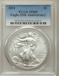 Modern Bullion Coins, 2011 $1 Silver Eagle, 25th Anniversary MS69 PCGS. PCGS Population: (4127/774). NGC Census: (44197/4318). ...