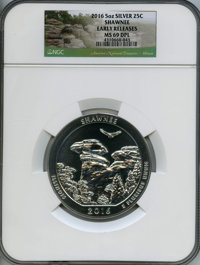 2016 25C Shawnee Five Ounce Silver, Early Release MS69 Deep Mirror Prooflike NGC. NGC Census: (0/0). PCGS Population: (2...