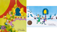 Doctor Seuss' How the Grinch Stole Christmas Whoville Children Production Cel Group of 2 (MGM, 1966).... (Total: 4 Items...