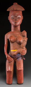 Tribal Art, Pende Maternity Figure: Large Standing Female Holding Female Childin Crook of Her Left Arm...