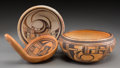 American Indian Art:Pottery, Three Hopi Polychrome Pottery Items. c. 1910 - 1940... (Total: 3Items)