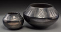 American Indian Art:Pottery, Two San Ildefonso Blackware Jars. Maria Martinez. c. 1940...(Total: 2 Items)