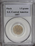 Territorial Gold: , California Gold Rush Pinch. Ex: S.S. Central America. Severalgolden-brown flakes, total weight 1.5 grams, were part of the ...