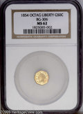 California Fractional Gold: , 1854 50C Liberty Octagonal 50 Cents, BG-306, R.4, MS62 NGC. Theletters DO in DOLLAR are joined and the date is entered wit...