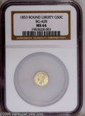 California Fractional Gold: , 1853 50C Liberty Round 50 Cents, BG-428, R.3, MS64 NGC. A crisplystruck and bright example, with yellow-gold surfaces. Th...