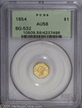 California Fractional Gold: , 1854 $1 Liberty Octagonal 1 Dollar, BG-532, Low R.4, AU58 PCGS.This sharply struck honey-gold example provides further pro...
