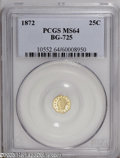 California Fractional Gold: , 1872 25C Liberty Octagonal 25 Cents, BG-725, High R.5, MS64 PCGS. Abright lemon-gold Fractional that has a virtually prist...