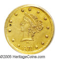 California Fractional Gold: , 1871 25C Liberty Round 25 Cents, BG-856A, R.8--Obverse Damage--NCS.This piece has Mint State sharpness, but a small hole i...
