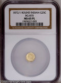 California Fractional Gold: , 1872/1 25C Indian Round 25 Cents, BG-870, R.4, MS65 Prooflike NGC.Frosty motifs appear to float over mirrored, watery fiel...