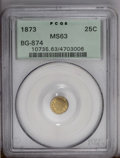 California Fractional Gold: , 1873 25C Indian Round 25 Cents, BG-874, Low R.6, MS63 PCGS. Thisgolden-brown and olive-gold example is undisturbed and att...