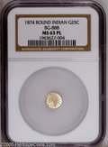 California Fractional Gold: , 1874 25C Indian Round 25 Cents, BG-888, Low R.5, MS63 ProoflikeNGC. Mirrored fields contrast with mildly frosted, sharply ...