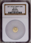 California Fractional Gold: , 1871 50C Liberty Octagonal 50 Cents, BG-912, MS65 Prooflike NGC.Yellow-gold surfaces display reflective fields that presen...
