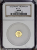 California Fractional Gold: , 1870 50C Liberty Octagonal 50 Cents, BG-922, R.3, MS62 NGC.Reflectivity is evident on this bright yellow-gold piece that h...
