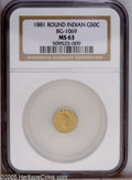 California Fractional Gold: , 1881 50C Indian Round 50 Cents, BG-1069, High R.4, MS63 NGC.Yellow-gold surfaces reveal somewhat proof-like fields that st...