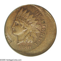 1880 1C Indian Cent--Struck 25% Off Center--MS64 Brown PCGS. Some muted mint red in the protected areas still shows on t...