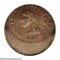 1881 1C Indian Cent--Struck 30% Off Center--AU58 PCGS. Struck widely off center toward 12:30, most of STATES and all of...