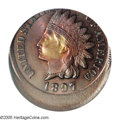 Errors: , 1897 1C Indian Cent--Struck 20% Off Center--MS63 Brown PCGS. Struck prominently off center toward 12 o'clock. The tip of th...