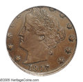 Errors: , 1907 5C Liberty Nickel--Struck on a Cent Planchet--AU58 PCGS. A beautiful chocolate-brown wrong planchet error. An area of ...