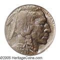 1929-? 5C Buffalo Nickel--Struck on a Cent Planchet--MS64 Brown PCGS. Deep plum and olive colors dominate the obverse, w...