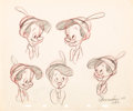 animation art:Model Sheet, Pinocchio Animator's Practice Model Sheet Group of 5 (WaltDisney, 1940).... (Total: 5 Original Art)