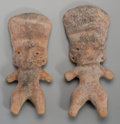 Pre-Columbian:Ceramics, Two Pre-Classic Figures with Tall Headdresses... (Total: 2 Items)