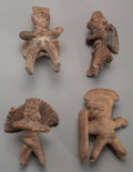 Pre-Columbian:Ceramics, Four Colima Warrior Whistles... (Total: 4 Items)
