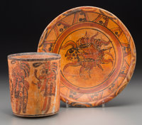 A Maya Polychrome Plate and Cylinder Vase