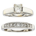 Estate Jewelry:Rings, Diamond, White Gold Ring Set. ... (Total: 2 Items)