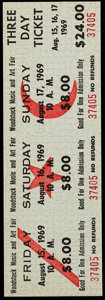 Miscellaneous Collectibles:General, 1969 Woodstock Music and Art Fair: Unused Three Day Ticket....