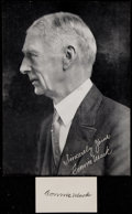 Autographs:Index Cards, Connie Mack Printed Picture with Signed Cut. ...