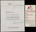 Baseball Collectibles:Others, August A. Busch Jr. Signed Letter and Certificate....