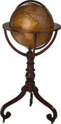 Books:Maps & Atlases, James Kirkwood. Terrestrial Globe on Wooden Stand. [Edinburgh: second quarter of the 19th century]. The maker's escutcheon r...