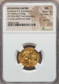 Ancients:Byzantine, Ancients: Constans II & Constantine IV (654-668). AV solidus(4.45 gm). NGC MS 4/5 - 3/5 graffito....