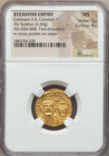 Ancients:Byzantine, Ancients: Constans II & Constantine IV (654-668). AV solidus(4.50 gm). NGC MS 5/5 - 4/5....