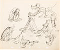 animation art:Model Sheet, Pluto, Donald Duck, and Mickey Mouse Animator's Practice ModelSheet Art Group of 3 (Walt Disney, 1939).... (Total: 3 OriginalArt)