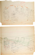 Animation Art:Production Drawing, Snow White and the Seven Dwarfs Layout/Development DrawingGroup of 3 (Walt Disney, 1937).... (Total: 3 Original Art)