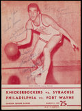 Basketball Collectibles:Programs, 1957 New York Knicks Signed Program (10 Signatures)....