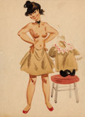 "Animation Art:Production Drawing, Fred Moore ""Freddie Girl"" Painting (Walt Disney, c. 1940s)...."